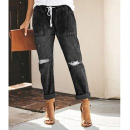 vintage trousers ladies Australia - Women Casual Solid Wide Leg High Waist Jeans Vintage Lace Up Hole Straight Pants Office Lady Loose Denim Trousers