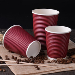 $enCountryForm.capitalKeyWord Australia - 200pcs 8oz Disposable Coffee Paper Cup Tea Milk Paper Cups With Lids For Birthday Wedding Party Hot Drink Cups - Wine Red+Black