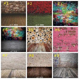 graffiti backdrops NZ - Graffiti Backdrop Colorful Brick Wall Photography Backgrounds Hip Hop Party Decorations Backdrops Wood Floor wallpaper home decor 85*125cm