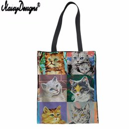 diy cat bag 2019 - NOISYDESIGNS Cute Oil Cats Theme Printed Canvas Handbag Bag Female Large Capacity Shopping Bag Summer Beach DIY Customiz