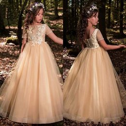 Dress For Babies First Birthday Australia - New Champagne Flower Girls Dresses For Weddings Jewel Neck Tulle Appliques Beads Little Kids Baby Gowns Custom First Communion Dresses