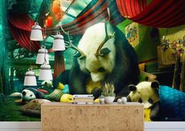 $enCountryForm.capitalKeyWord Australia - 3D Wall Mural Wallpaper Home Decor Green Mountain Waterfall Hand-painted creative panda house 3D Photo Wall Paper For Living Room Bedroomr