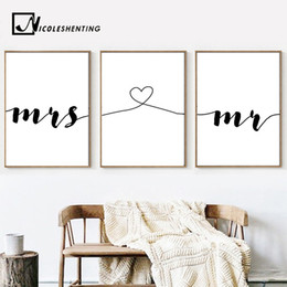 $enCountryForm.capitalKeyWord Australia - Mr Mrs Family Simple Quotes Wall Art Canvas Poster Minimalist Print Couple Anniversary Painting Picture for Living Room Decor