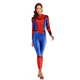 Discount spiderman costume women - Spiderman Tights Cosplay Anime One-piece Tights Show Women 3D Printed Pullover T Shirt Round Collar Long Sleeve Slim Leg