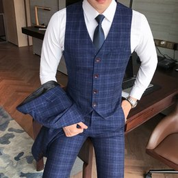 wedding dress petal appliques Australia - Luxury men's check vest suit trousers 2019 men's formal wear wedding dress large size casual business men's suit vest