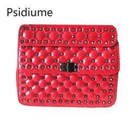 $enCountryForm.capitalKeyWord Australia - Leather Rivet Female Bag Shoulder Oil Wax Leather Handbag Women Genuine Bags Quilted Geometric Top Designer Luxury Valen