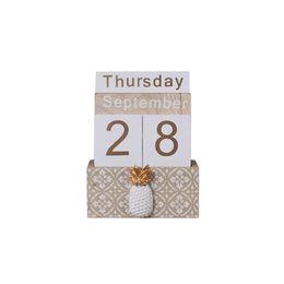 Pineapple Cactus Perpetual Desk Calendar Vintage Wooden Block Calendar Month Week Date Blocks for Home Office Store Decoration on Sale