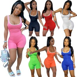 jumpsuit plus sizes women sale Canada - Plus Size Women Short Jumpsuit Sleeveless Solid Color Rompers Casual Overalls Sexy BodySuit Summer Clothes S-3XL Hot Sale Suspenders 3244