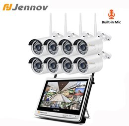 Video Surveillance Camera Systems NZ - Jennov 8CH 2MP Video Surveillance Kit IP Camera Outdoor 1080P WiFi Security Camera System Wireless NVR 12Inch LCD Screen HD P2P