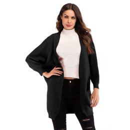 batwing bat sleeve cardigan NZ - Neck Long Black V Casual Open Red Bat Yellow Coat Winter Sleeve Autumn Front Women Spring Fashion Solid Cardigan Sweater