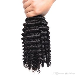 Discount wet curly human hair - Brazilian Deep Wave Wet And Wavy 3 Bundles Curly Hair Bundles Double Weft 100G Pcs 100% Unprocessed Virgin Human Hair We
