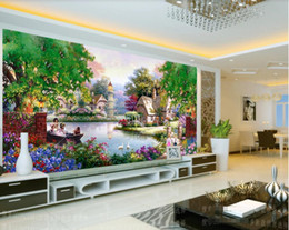 beautiful oil painting for bedroom 2020 - 3d wallpaper custom photo mural Beautiful flowers, garden water painting, oil painting space wallpaper home decor wall a