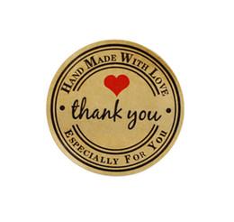 600pcs ручной работы с любовью красное сердце Спасибо круглый скрапбукинг бумажные этикетки печать наклейки, DIY подарок стикер диам.3.8 см на Распродаже