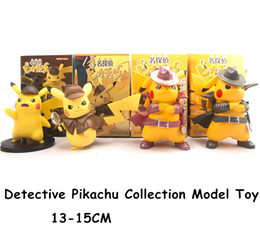 Figures Australia - New Detective Pikachu Action Figures 4 Types Pikachu Collection Models 13-15cm Cartoon Movie Kawaii Cute Q Statue Doll Toys Figura Figurine