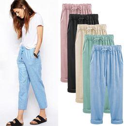 Wholesale women linen pants resale online – Candy Color Cotton Linen Harem Pants Women Casual Elastic Waist Loose with Drawstring Harajuku Ankle length Capris Trousers Plus Size M XL