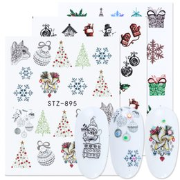 christmas gift nails Australia - heap Stickers & Decals 1pc Christmas Nail art Water Decals Snowflakes Gift Design New Year Decoration Stickers For Nail Gel Manicure Tip ...