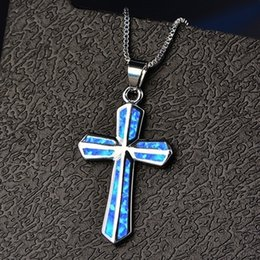 $enCountryForm.capitalKeyWord Australia - Sunday School Children's Gifts New Fashion Three Color Fire Opal Cross Pendant 925 Silver Plated Necklace Female Wedding Party Jewelry