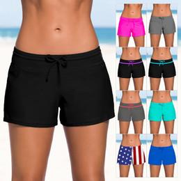 Wholesale dark swimwear for sale – plus size women beach shorts woman swim shorts swimwear for women high waist yoga shorts XL with belt