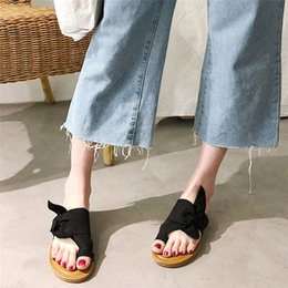 $enCountryForm.capitalKeyWord NZ - Woman Casual Retro Butterfly-knot Flats Slipper Sandals Flip Flops Summer Fashion Women Low Heel Beach Slip On Shoes Slipper #40