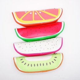 $enCountryForm.capitalKeyWord Australia - Colorful Fruits Students Pen Containers Pu Leather Small Makeup Brush Bags Portable Coin Purse Orange Kiwifruit Pitaya Watermelon Four Style