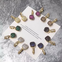 Discount 18k yellow gold earrings - Exquisite Fashion Lady Brass Honeycomb Coloured Gemstone Setting Full Diamond 18k Gold Plated Engagement Yellow Gold Ear