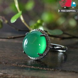 Ring Adjust Size Australia - wedding band genuine emerald 925 pure silver diamond natural green chalcedony hatch can adjust ring atmosphere nation wind temperament