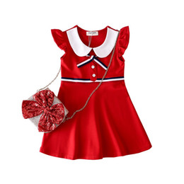 $enCountryForm.capitalKeyWord UK - Baby Girl Red Preppy Style Dress 2019 Girls Summer Clothes Kids Cotton Clothes Children Casual Dresses For Girls