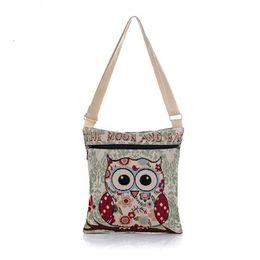Cheap Handbag Bags Tote Canada - Cheap Fashion Embroidered Owl Tote Bags Women Shoulder Bag Handbags Postman Package Messenger Weaving Cloth Bag Drop Ship Wholesale #T