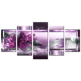 Discount pictures purple flowers for walls - Unframed 5 Pieces Canvas Painting Purple Lily and Ribbon Flower Contemporary Wall Picture Home Decor for Living Room Art
