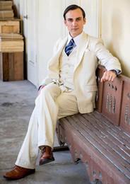 $enCountryForm.capitalKeyWord Canada - Tailor Made New Beige Ivory Linen Suit Men Slim Fit Summer Wedding Beach Blazer Gentle Groom Tuxedo Jacket+Vest+Pant Terno CY03