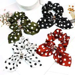 Discount girls flower hair rings - Long Tassel Hair Ring Fashion Ribbon Girl Hair Bands Adjustable 1PC Streamer Elastic Print Scrunchies Horsetail Tie Dots