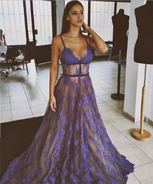 Sample Straps Line Australia - Spaghetti Strap V neck Sexy Lace Tulle A Line Long Evening Dresses Formal Gown Real Sample Floor Length Blue Evening Dress 2019