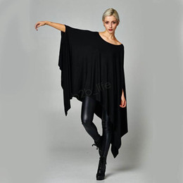 Wholesale night shirts for women for sale – custom Women Shirts dress Sexy Oversized Asymmetric Tunic Poncho Cape Casual Top For Women Batwing Sleeve irregular Loose dresses LJJA3031