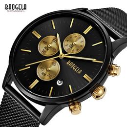 Baogela Luxo Moda Ultra-fino Relógio de Aço Inoxidável Malha Strap Esporte de Negócios Top Marca de Quartzo Relógios de Pulso Relojes Hombre venda por atacado