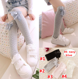 $enCountryForm.capitalKeyWord NZ - 38CM Girl knee high socks Children Solid Color Grid leggings Baby Spring Autumn legwarmer with bow 5colors