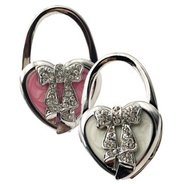 Wholesale New Portable Folding Bag Holder Heart Bowknot Pattern Purse Handbag Hook Hanger