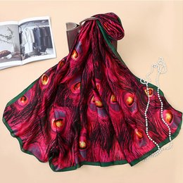 $enCountryForm.capitalKeyWord NZ - 10pcs Designer Silk Scarfs Women Luxury Print Peacock Feathers Silk Foulard Scarf designer scarves Fashion 3 colors