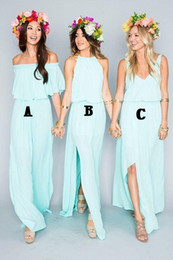 Wholesale 2019 New Summer Beach Mint Green Bridesmaid Dresses Mixed Style Flow Chiffon Side Split Boho Custom Made Cheap Bridesmaid Gowns