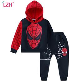 spiderman wholesale coats 2019 - Children Clothing 2019 Autumn Winter Boys Clothes 2pcs Spiderman Costume Outfit Kids Costume Suit For Toddler Boys Cloth