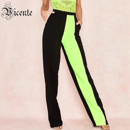 Discount block design - Vicente 2019 Hot New Trendy Color Block High Waist Design Celebrity Party Bnadage Pants