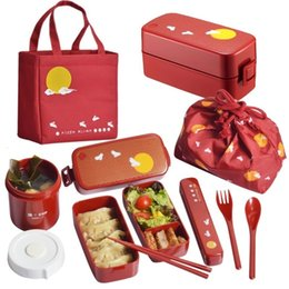 lunch box cartoons Australia - Japanese style bento box plastic lunch boxes cartoon microwavable food containter tableware with bags spoons chopsticks SH190928