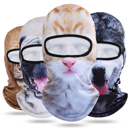 animal face masks Australia - fashion Motorcycle Full Face Mask 3D Animal Cat Dog Hat Windshield mask Breathable Airsoft Snowboard Cycling mask Ski Cap Party masksT2I5499