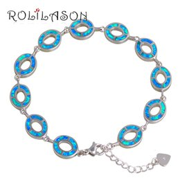 Discount blue opal jewelry sets - ROLILASON Classic Bracelets for women Special Blue Fire Opal Top Quality Stamped Sterling Silver Graceful Fashion Jewelr