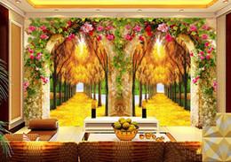 $enCountryForm.capitalKeyWord Australia - Custom Wall Mural Large Wall Painting Modern 3D StereoscopicOriginal Fortune Tree Flower Vine Arch Living Room TV Backdrop Wallpaperr