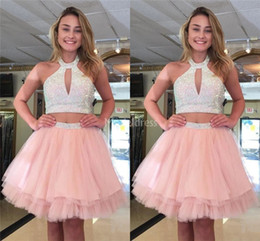 black halter mini dress NZ - 2019 New Arrival Pink Homecoming Dresses Halter Two Pieces Beads Short Prom Dresses Major Beading Special Occasion Dress Mini Cocktail Gowns