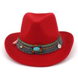 Women Wool Hollow Western Cowboy Hat Roll-up Wide Brim Cowgirl Jazz  Equestrian Sombrero Cap With National style Ribbon AD0853 d4e0fd1d6752