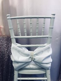 Vintage White Chair Australia - Custom Made Pearls Satin Wedding Chair Covers Beautiful Cheap Wedding Party Decorations Vintage Chair Sashes Supplies C04