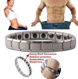 HealtH bangles online shopping - Fashion Health Energy Bracelet Hematite Bangle Men Jewelry Titanium Stainless Steel Magnetic Therapy Bracelet Gift style MMA2247
