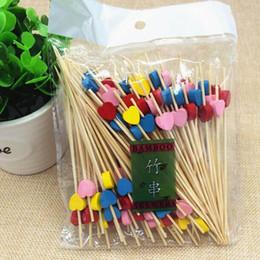 Discount wholesale buffet salad - 12cm Heart Flower Star Bamboo Pick Buffet Cupcake Fruit Fork Party Dessert Salad Stick Cocktail Skewer QW9699