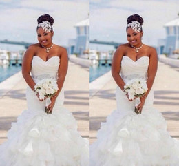 Bead sweetheart mermaid wedding dress tulle online shopping - 2020 Cheap Plus Size African Retro Mermaid Wedding Dresses Sweetheart Crystal Beaded Sash Organza Ruffles Tiered Custom Formal Bridal Gowns